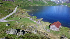 Aerial footage of norwegian old settlement - stock footage
