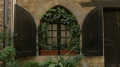 View of an arched window with green leaves in Vence Stock Footage
