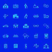 Retirement community blue line icons Stock Illustration