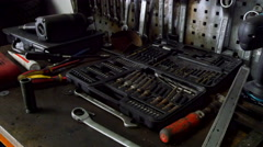 Inside the repair shop they have lots of tools Stock Footage