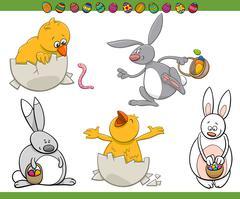 easter characters cartoon set - stock illustration