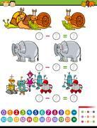 Math task cartoon illustration Stock Illustration