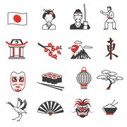 Japan Red Black Icons Set - stock illustration