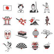 Japan Red Black Icons Set Stock Illustration