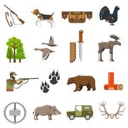 Flat Color Hunting Icons Stock Illustration
