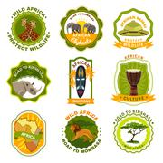 Africa Emblems Set Stock Illustration