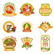 Pizza Emblems Set Stock Illustration