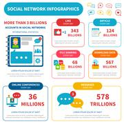 Social Network Infographic Set - stock illustration