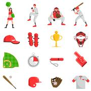 Baseball flat set Stock Illustration