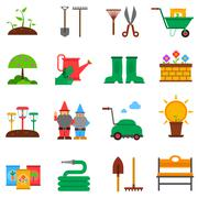 Gardening icons set Stock Illustration