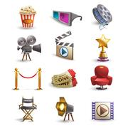 Cinema icons set Stock Illustration