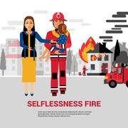 Firefighter Rescuing Child Vector Illustration - stock illustration