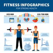 Fitness Infographics With Sport Clubs Statistics Stock Illustration