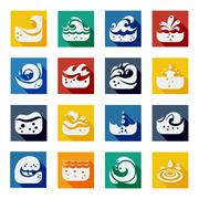 Swirling Wave Color Icons Set - stock illustration