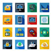 Cloud Service Icons In Colorful Squares Piirros