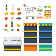 Supermarket Decorative Icons Collection Stock Illustration
