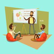 Coworking Cartoon Illustration - stock illustration