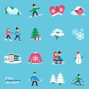 Winter Flat Icons Set - stock illustration