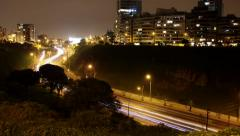 Traffic TIMELAPSE in Lima at night, Peru Stock Footage