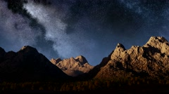 Milky Way in the mountains timelapse Stock Footage