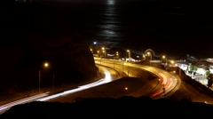 4K Lima with coastline (Miraflores) at night with traffic time-lapse, Peru Stock Footage