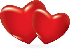 Two red hearts Stock Illustration