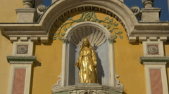 The gilded statue of Cathedral Notre Dame de la Nativité in Vence Stock Footage