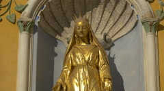 The beautiful gilded statue of Cathedral Notre Dame de la Nativité in Vence - stock footage
