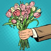 bouquet tulips flowers gift - stock illustration