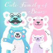 Cute card with a family of bears. Dad hugs mother and children - stock illustration