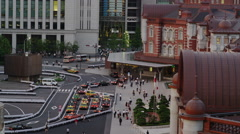 Taxis waiting for Passengers in front of Tokyo Station Stock Footage