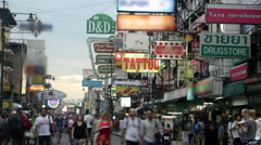 Busy shopping street at Khao San Road in Bangkok Stock Footage