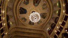 Golden ceiling and chandelier of Odessa Opera and Ballet Theater, interior Stock Footage