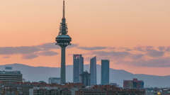 Madrid skyline timelapse with some emblematic buildings such as Kio Towers, part Stock Footage