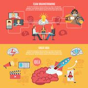 Flat Brainstorm Banners Stock Illustration