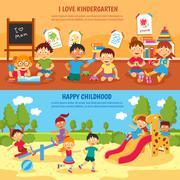 Kindergarten banner set Stock Illustration