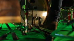 Close up of bass drum and hi hat pedal drum kick isolated on green Stock Footage