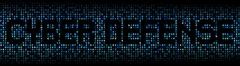 Cyber Defense text on hex code illustration - stock illustration