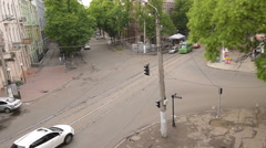 Aerial, car traffic, time lapse on intersection Odessa downtown, Ukraine Stock Footage