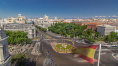 Aerial view of Cibeles fountain at Plaza de Cibeles in Madrid timelapse in a Stock Footage