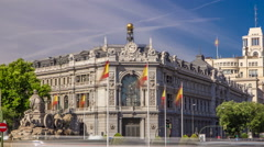 Historic Bank of Spain building timelapse hyperlapse and Cibeles square between Stock Footage
