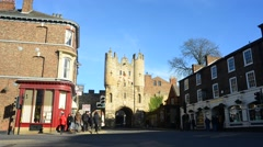 Time lapse traffic and pedestrians by micklegate bar york united kingdom Stock Footage