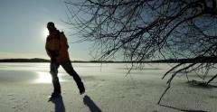 Nordic skater on a sunny day Stock Footage
