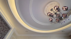Beautiful crystal chandelier on the ceiling. Arkistovideo