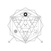 Mystical geometry symbol. Linear alchemy, occult, philosophical sign. For mus Stock Illustration