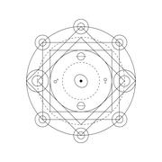 Mystical geometry symbol. Linear alchemy, occult, philosophical sign. For mus - stock illustration