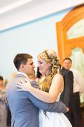 Wedding dance of bride and groom Stock Photos