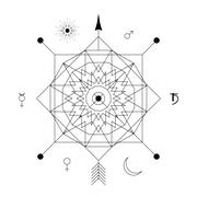 Abstract mystical geometry symbol. Vector linear alchemy, occult and philosop - stock illustration
