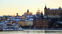 Old town of Stockholm in the wintertime rr - stock footage