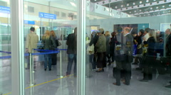 Checking the passports of passengers at the airport rg Stock Footage